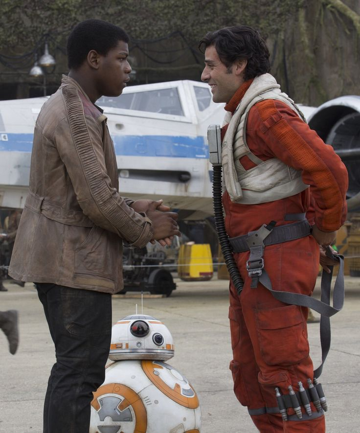 John Boyega as Finn and Oscar Isaac as Poe Dameron in Star Wars: The Force Awakens (2015)