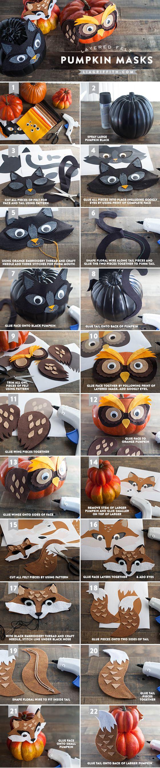 Costumer vos citrouilles! Patrons gratuits à imprimer! - Bricolages - Des bricolages géniaux à réaliser avec vos enfants - Trucs et Bricolages - Fallait y penser !