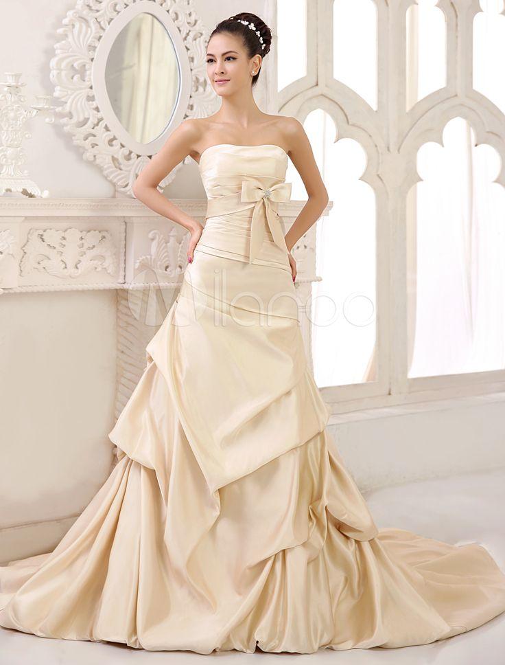 Vestito da sposa champagne classico & tradizionale in raso senza spalline a pieghe con strascico di corte