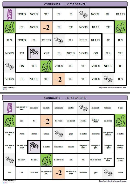 Un jeu de plateau pour travailler la conjugaison des verbes et qui peut s'utiliser du CE1 (présent, futur) au CM2 (présent, futur, passé composé, imparfait, plus-que-parfait, passé simple) .:
