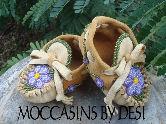 Baby Moccasins By Desi Beaded Flower Pansy by MoccasinsByDesi, $108.00