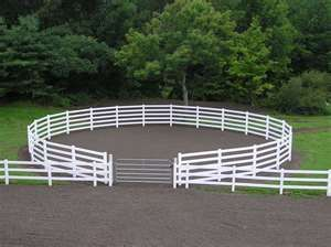 Round pen connected to arena. Great idea plus it looks really nice. The only think I'd change would be that I'd add another gate on the outside of the round pen.