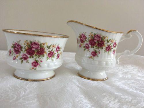 Elizabethan-Porcelana-Fina-Inglaterra-Tazon-de-Azucar-conjunto-Crema-Rosas-Adorno-de-oro
