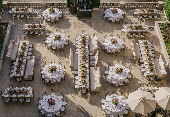 Great mix of long feast tables and round tables for an outdoor fete