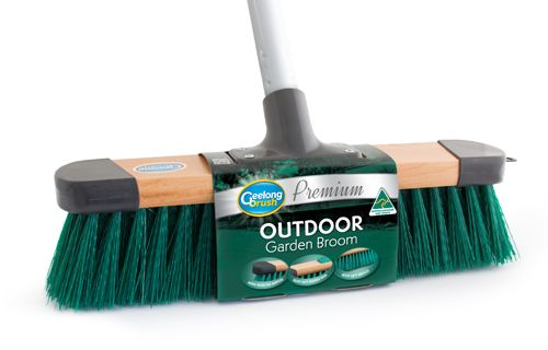 All sorts of brooms made in australia by Geelong Brush  The Premium Outdoor Garden broom has great quality, strong fill of bristle fibre in the broom head and will clean up outdoor garden waste with ease!
