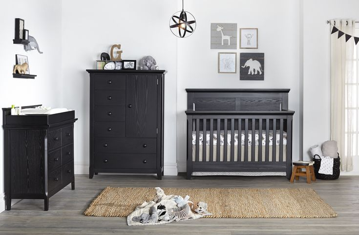 Overland Nursery Furniture Collection from Baby Cache - their newest finish - Forever Black is so chic. It can work in almost any style nursery!  #PNpartner