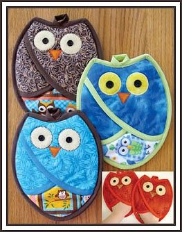 "- Who Owl Pot Holders Pattern - The Virginia Quilter Finished size about 10"" x 8""."