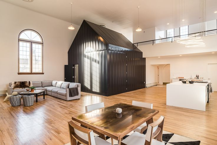 converted church in Denver Colorado. great view of the tiny house in the sanctuary