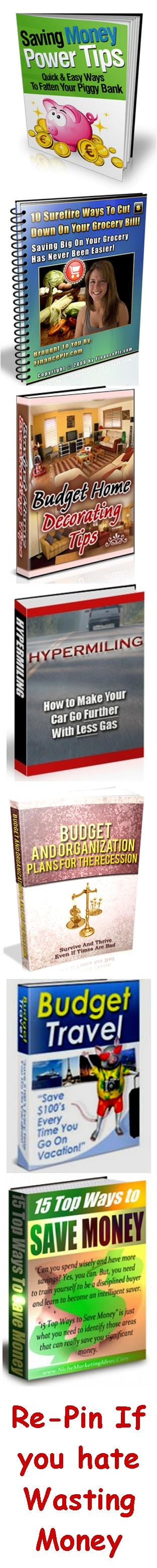 You could save yourself a significant amount of money if you know how to cut down on your expenses – so you can free up money for the things your REALLY want. This package of 7 ebooks going for only $5.00 - and includes tips on saving money in all areas of your life, including expense budgeting, groceries, vacations, saving gas, interior decorating and more. Just click on the picture to learn more #save #money #budget #tips #saving #home #cash #travel #gas