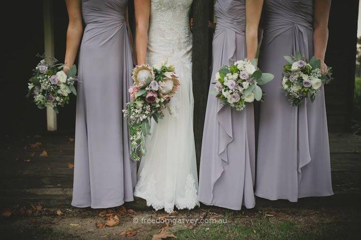 Margaret River Wedding ~ Rustic  ~ Bouquet ~ Bridesmaids ~ Lilac ~ Greenery ~ Bohemian ~ Spring Wedding ~ Vintage ~ Wedding Floral Design ~ Australia weddings ~ UK Weddings ~ International wedding and event styling ~Styling By http://www.chicrustique.com.au/about ~ Photography www.freedomgarvey.com.au/