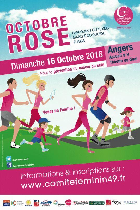 Tous concernés, hommes, femmes, enfants, marchons ou courons ensemble  Dimanche 16 octobre 2016, à Angers contre le cancer du sein.   Cette manifestation est organisée par le Comité Féminin 49 qui agit pour la prévention et pour les dépistages des cancers.