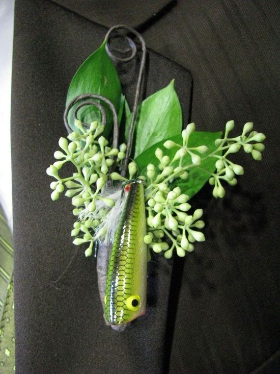fishing theme boutonniere   ...   wedding / we will so have this fishing lure boutonniere