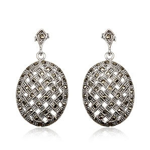 Retro collection. Earrings in sterling silver and marcasite. Tax free $42.90