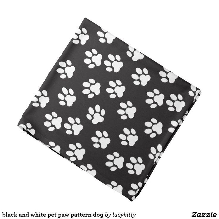 black and white pet paw pattern dog bandana
