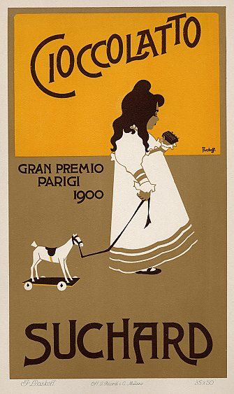 Italian Chocolate Advertising Poster: Cioccolatto Suchard, by Franz Laskoff. 1914