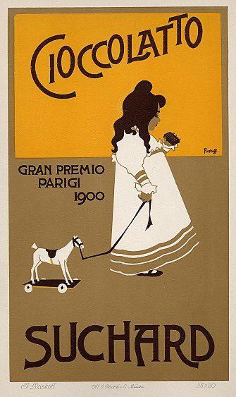 Franz Laskoff. Poster-Ciocclato Suchard / Gran Premio Parigi. 1900