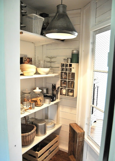 Vintage style pantry shelves