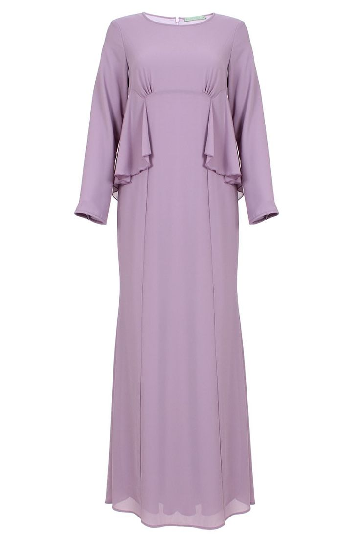 Farisya Ruffle Side Panel Jubah Dress - Deep Lavender