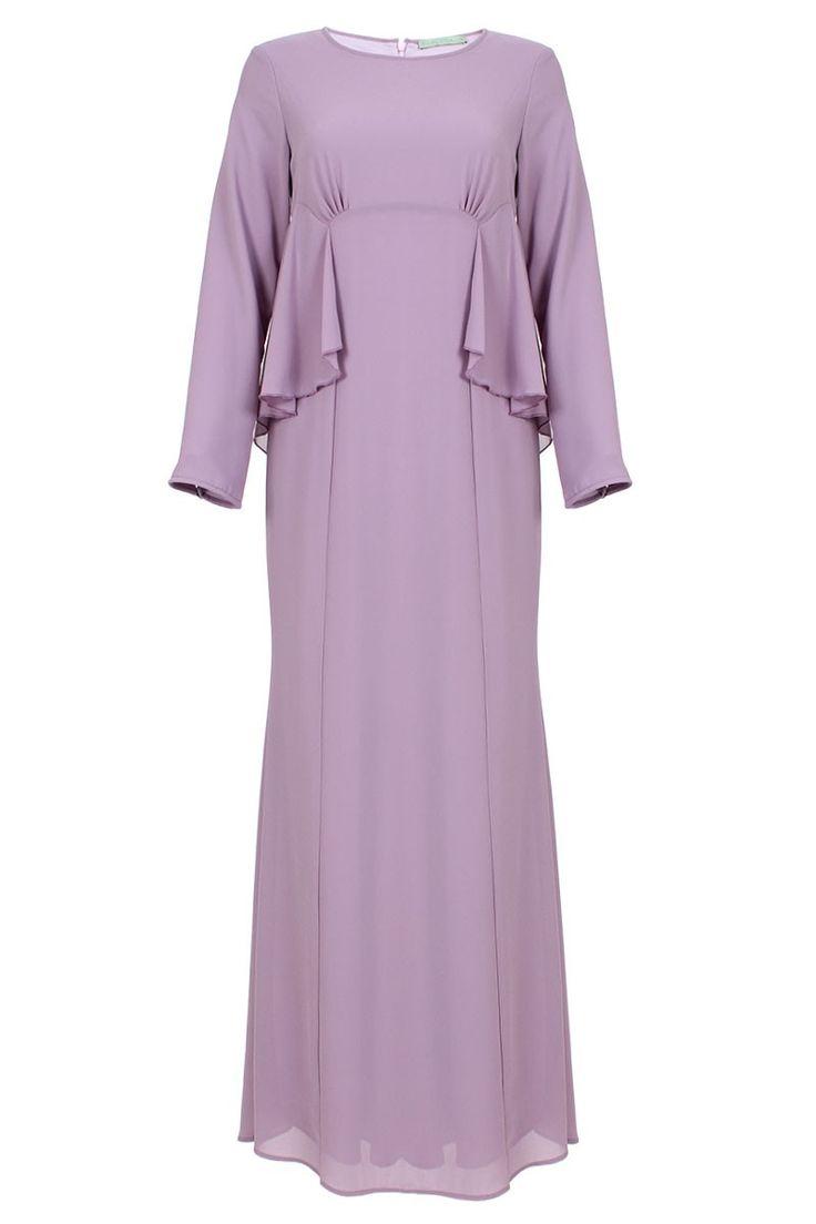 Farisya Ruffle Side Panel Jubah Dress - Deep Lavender