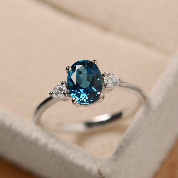 Anel de topázio azul, anel oval de pedras preciosas, prata de lei, anel de noivado   – Piercings and jewellery
