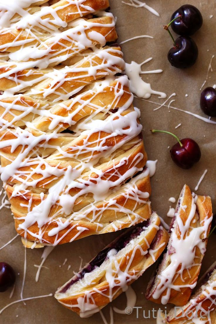Cherry Almond Danish Braid with Amaretto glaze. Make ahead and bake in the morning for a scrumptious breakfast!