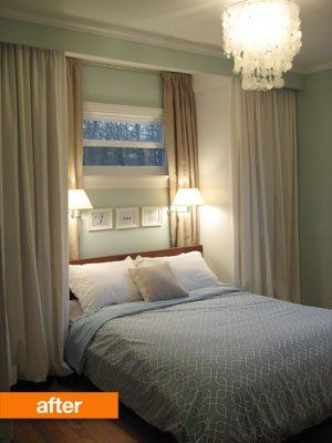 Buy two IKEA wardrobes for either side of the bed, hang curtains in front and attach bedside lighting to the wall. You now have a nice little sleeping nook and a TON of new clothes storage.