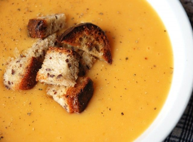 Pumpkin cream with croutons  The pumpkin cream is a dish typical of the fall season either because the pumpkin is a vegetable that matures in Italy at this time of year, or because when the first cold weather arrives it is a pleasure to warm up your soul as well as your stomach with a good hot soup that smells of home. My version of pumpkin soup is very simple, but it has that little bit extra given by the croutons, because they are made with a home-made bread with whole wheat flour and a…