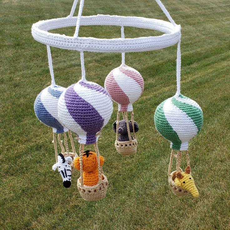 Hot air balloon baby mobile crochet pattern, nursery