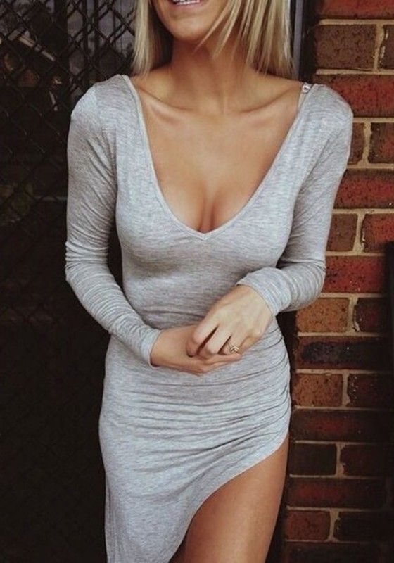 $14.52 Light Grey Plain Irregular High Split Rouched Front Detail V-neck Long Sleeve…