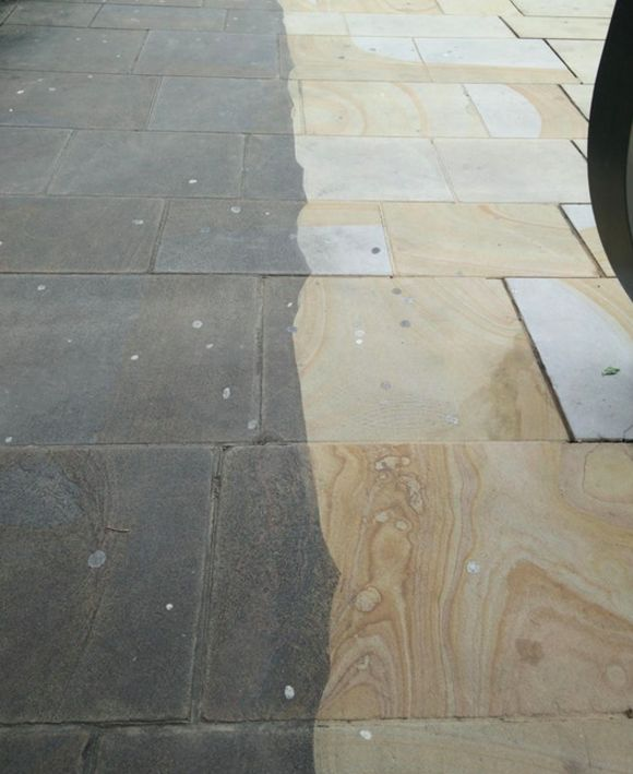 Brighten up your day with a pressure washer. You can see the difference it can make it with this pick of a stone sidewalk in the UK.