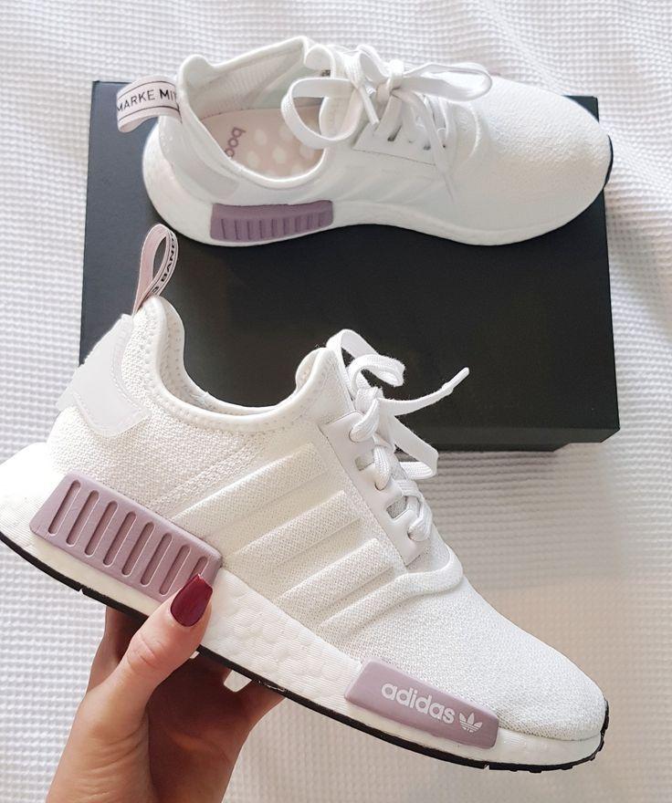 Women's Running Sneaker NMD r1 white and purple pin …