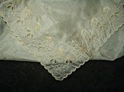 Victorian Edwardian Silk Handkerchief  Hand Embroidery Cutwork Hankie with Tag
