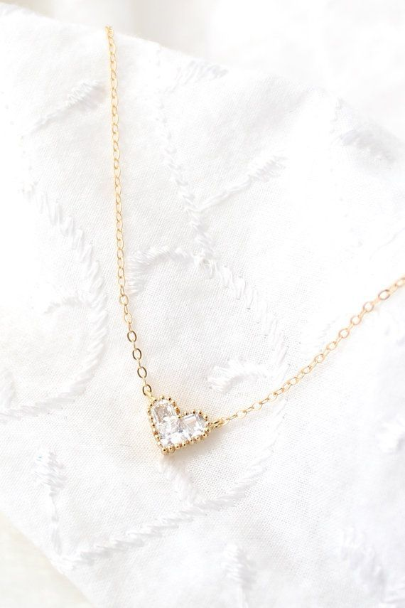 Tiny Heart Necklace Cubic Zirconia Necklace...pinned by ♥ wootandhammy.com, thoughtful jewelry.
