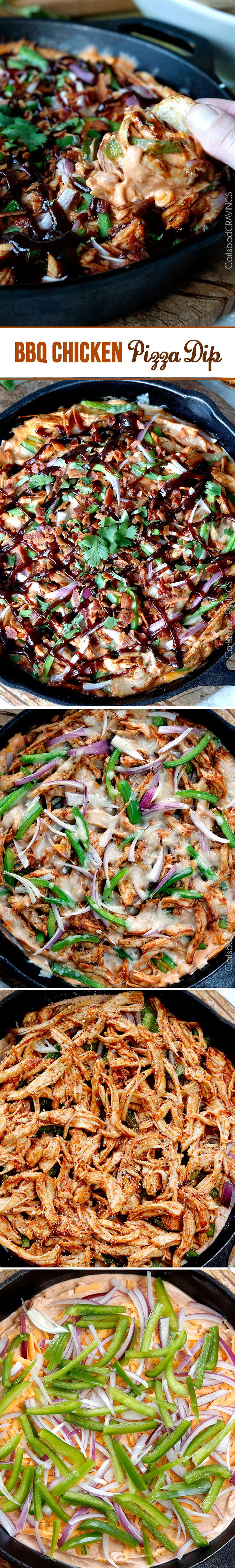 Perfect for New Years! BBQ Chicken Pizza Dip - cheesy BBQ cream cheese with layers of BBQ chicken, red onions, bell peppers and mozzarella - all the flavors of the pizza but in a dip!