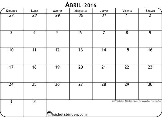calendario abril 2016 libre de imprimir Clásico domingo Mundo