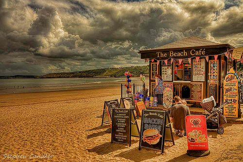 Kiosk on the beach at Scarborough, South Bay, North Yorkshire, England