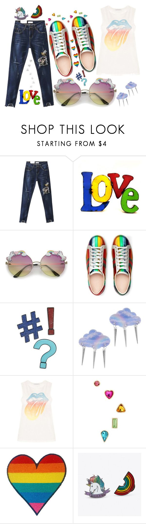 """""""Pride"""" by covrigel ❤ liked on Polyvore featuring WithChic, Rustic Arrow, Gucci, Design Lab, Suzywan DELUXE, Betsey Johnson, Punky Pins and pride"""