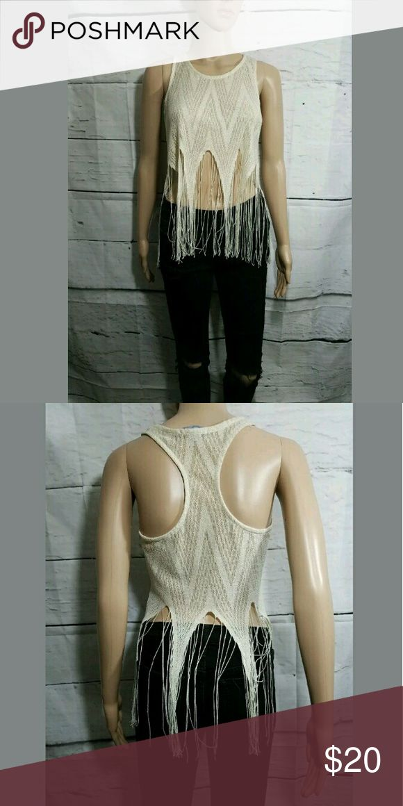 Sheer Fringe Tassel Racerback Tank Top Cream Gold Sheer Fringe Tassel Racerback Tank Top Cream Gold XS  16 inches pit to pit.  27 inches long.    AB Charlotte Russe Tops Tank Tops