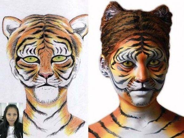 Vestito nero e oro trucco tigre