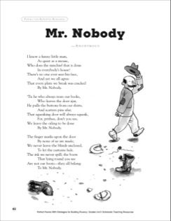 mr nobody a poem with strategies for building fluency