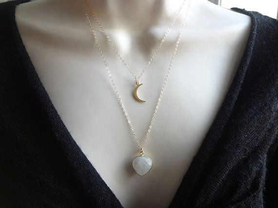 Moonstone  Gemstone Necklace 24K Gold Plated Vermeil Moon Necklace Layered Necklaces