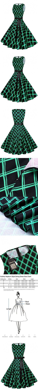 Anni Coco Women's 1950s Hepburn Vintage Swing Dresses With Ribbon Belt Diamond-Shaped Green X-Large