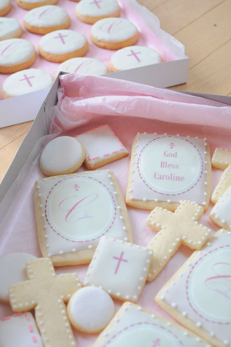 Pink First Communion Sugar and Shortbread Cookies