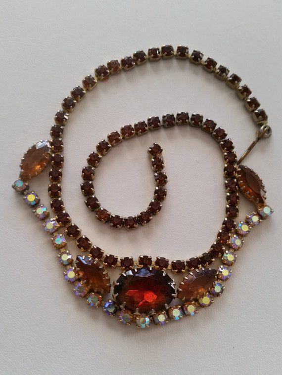 topaz rhinestones choker unsigned beauty Vintage Necklace