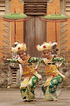 Bali, Ubud, two Legong dancers performing