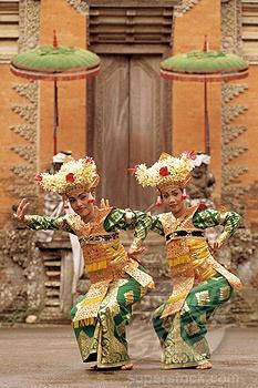 Bali, Ubud, two Legong dancers performing