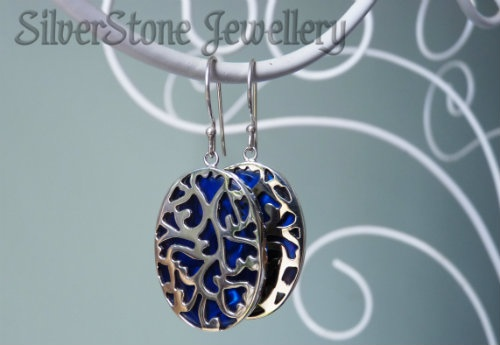cobalt blue dyed paua silver earrings hook style - $66 www.silverstonejewellery.co.nz