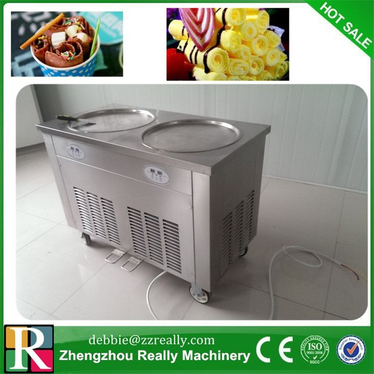 Fry Fried Ice Cream Machine 22l h Stainless Steel 2 Square 35cm Pan 5 Buckets