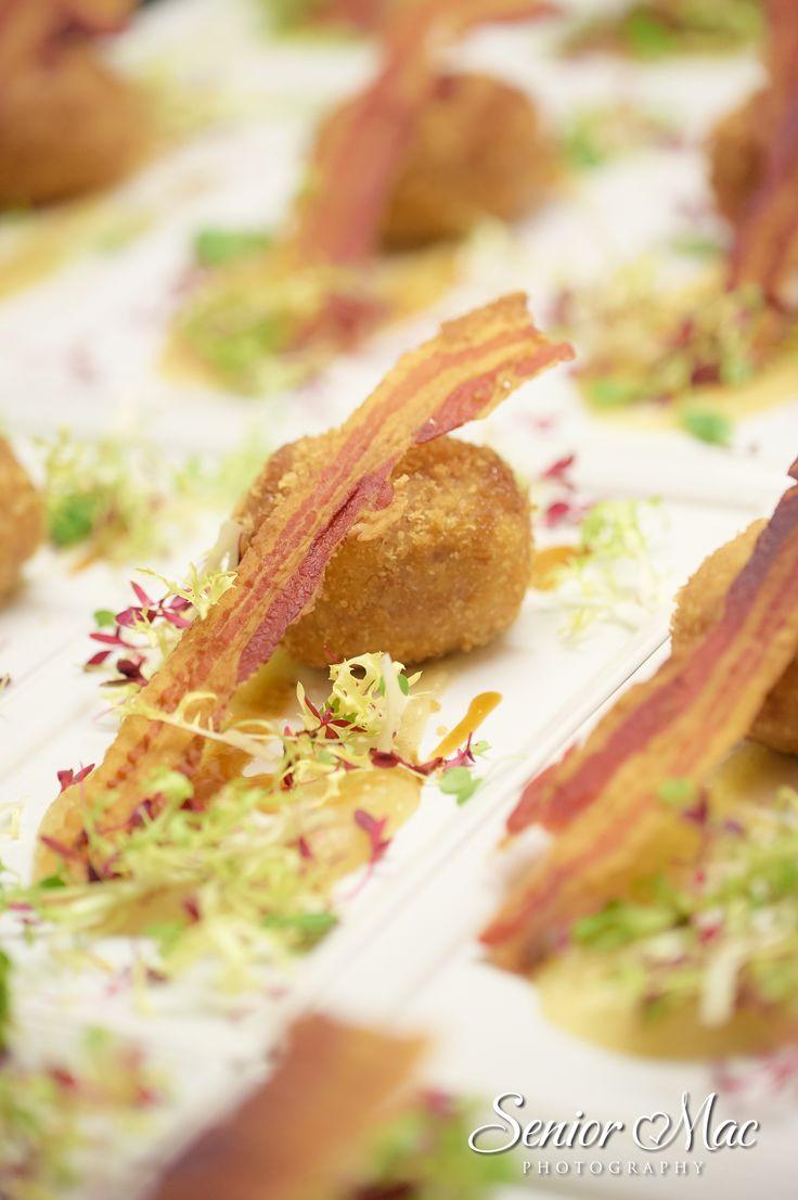 Lovely starter option for #weddings Smoked Bacon Scotch egg #gallopinggourmet @GGWeddings