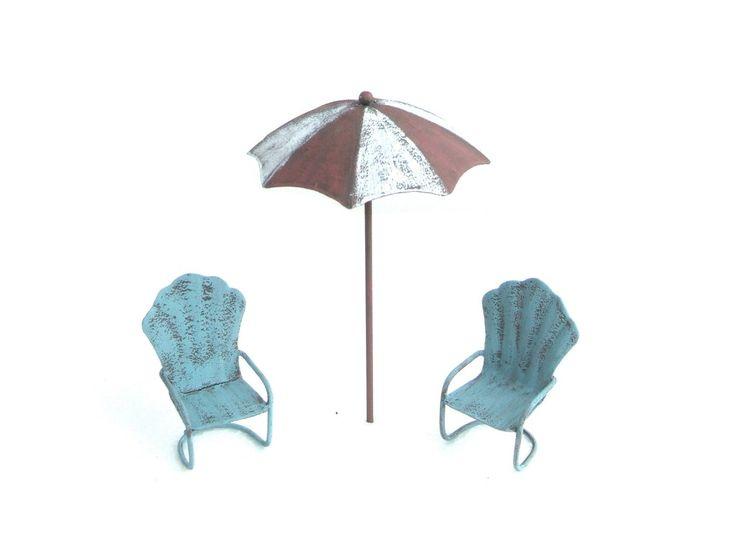 Miniature Beach Umbrella & Chairs